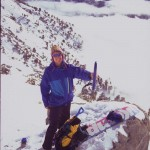 Alex Kutches shows the side profile of Ramer Assault Snowshoes. They didn't weigh much either.