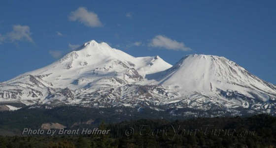 Mt. Shasta and Shastina's north sides beckon to backcountry skiers.