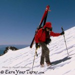Westcomb's Cruiser jacket provides a windbreak while climbing Mt. Shasta.