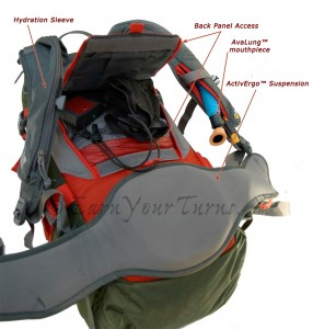 View of BD's rear access panel on the Outlaw AvaLung™ pack.