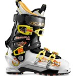 Scarpa's Maestrale RS. Lots of power in a welter weight AT boot.