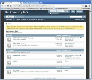 Screen grab of the new Backcountry Talk forum on  Earn Your Turns.com