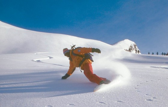 Ruedi Beglinger was one of the first guides in North America to lead tours with a  splitboard.