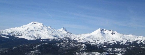 Backcountry skiing options near Bend, Oregon - South, Middle, and North Sisters and Broken Top on the right.