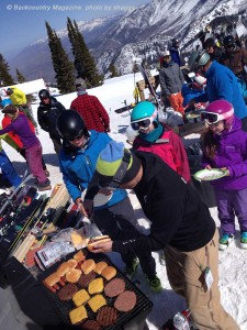 Bar BQ outside the ski barn at Powder Mountain.