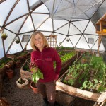 Susie Sutphin in a Tahoe Food Hub grow dome.