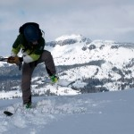 "Logan Talbot, ASI Guide, tries to trigger a cornice break. He was successful. We were glad he was ""on belay."""