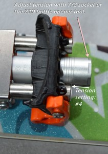 No cable pivot position adjustment, that's fixed, but you can adjust the tension by tightening the springs.