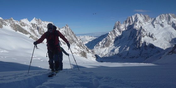 The author striding up Helbronner between Chamonix and Courmayeur wearing a Red Fox Eiger softshell jacket.